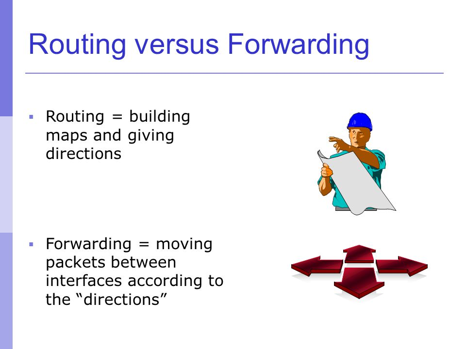 "Routing versus Forwarding  Routing = building maps and giving directions  Forwarding = moving packets between interfaces according to the ""direction"