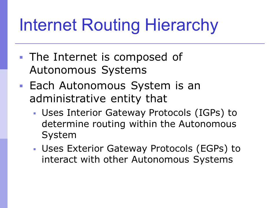 Internet Routing Hierarchy  The Internet is composed of Autonomous Systems  Each Autonomous System is an administrative entity that  Uses Interior