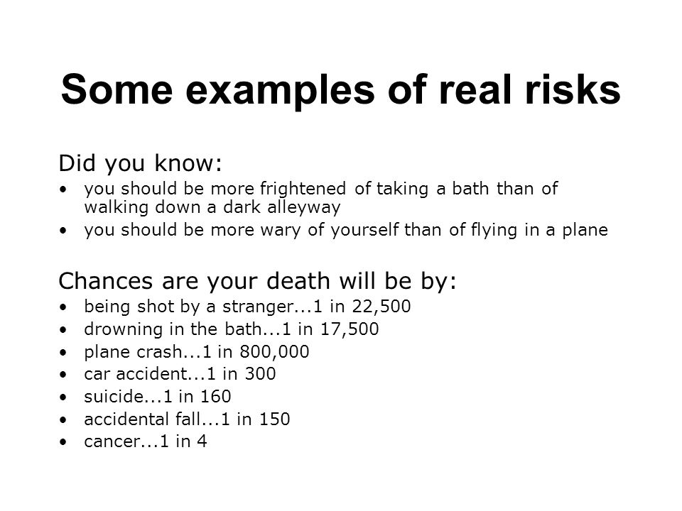 Some examples of real risks Did you know: you should be more frightened of taking a bath than of walking down a dark alleyway you should be more wary of yourself than of flying in a plane Chances are your death will be by: being shot by a stranger...1 in 22,500 drowning in the bath...1 in 17,500 plane crash...1 in 800,000 car accident...1 in 300 suicide...1 in 160 accidental fall...1 in 150 cancer...1 in 4