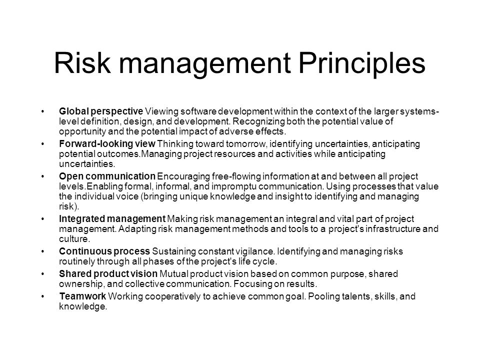 Risk management Principles Global perspective Viewing software development within the context of the larger systems- level definition, design, and dev