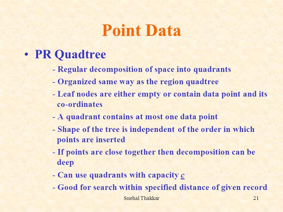 Snehal Thakkar21 Point Data PR Quadtree - Regular decomposition of space into quadrants - Organized same way as the region quadtree - Leaf nodes are e