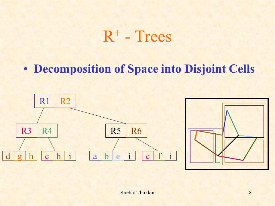 Snehal Thakkar8 R + - Trees Decomposition of Space into Disjoint Cells R2 R3R4R5R6 R1 abdghciefhici
