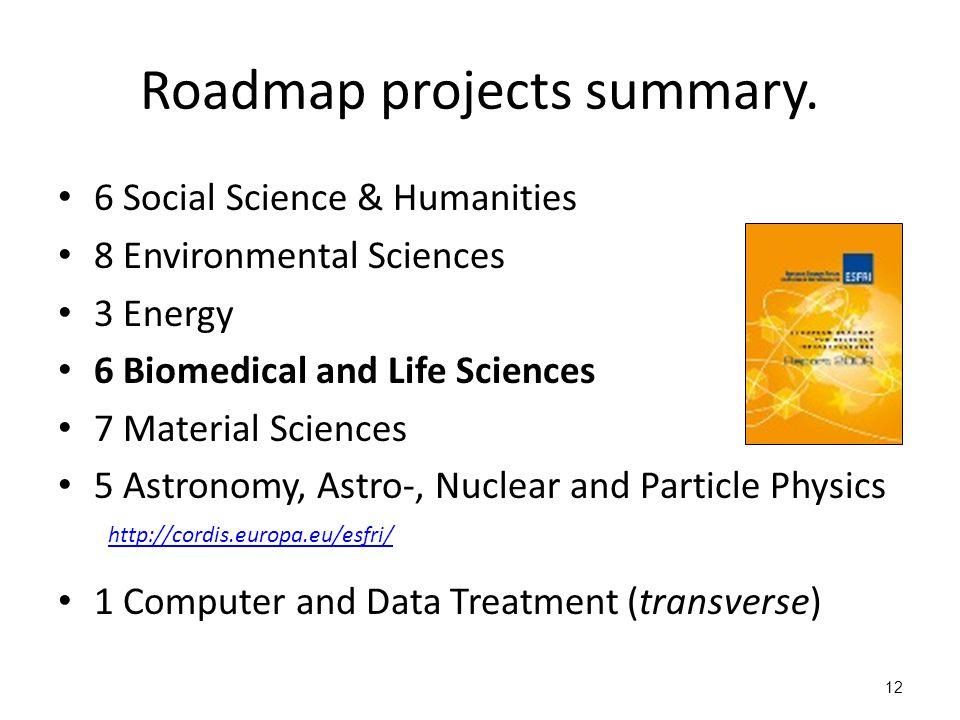 12 Roadmap projects summary.