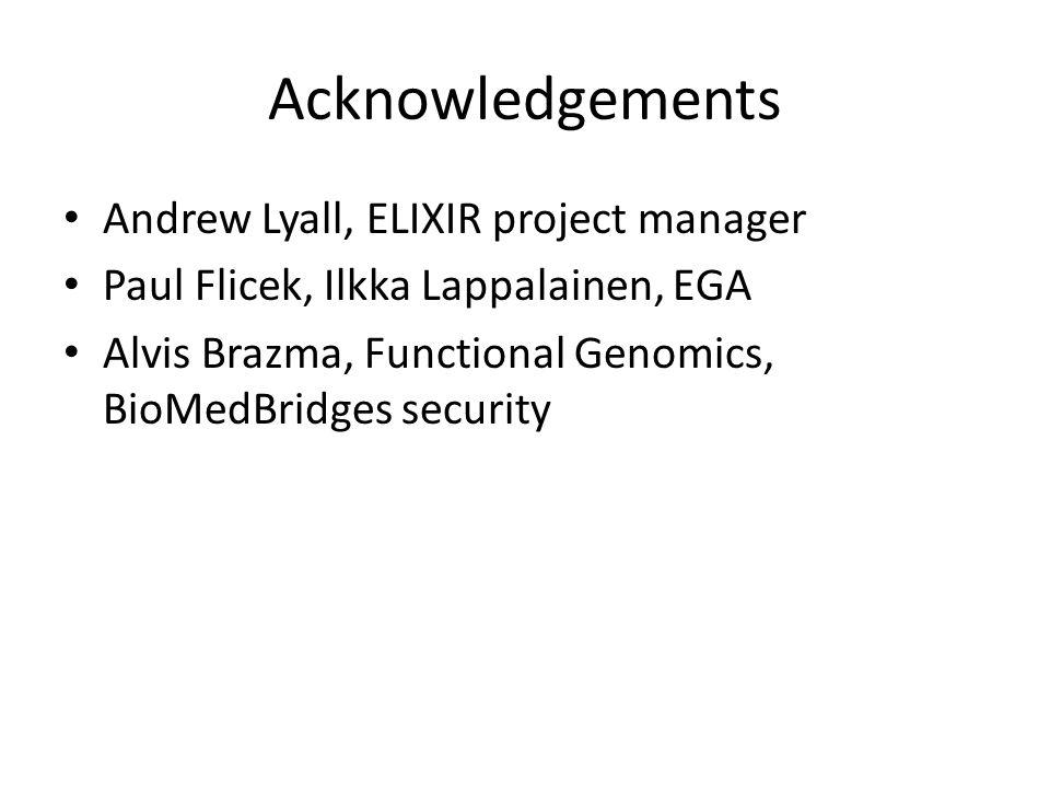 Acknowledgements Andrew Lyall, ELIXIR project manager Paul Flicek, Ilkka Lappalainen, EGA Alvis Brazma, Functional Genomics, BioMedBridges security