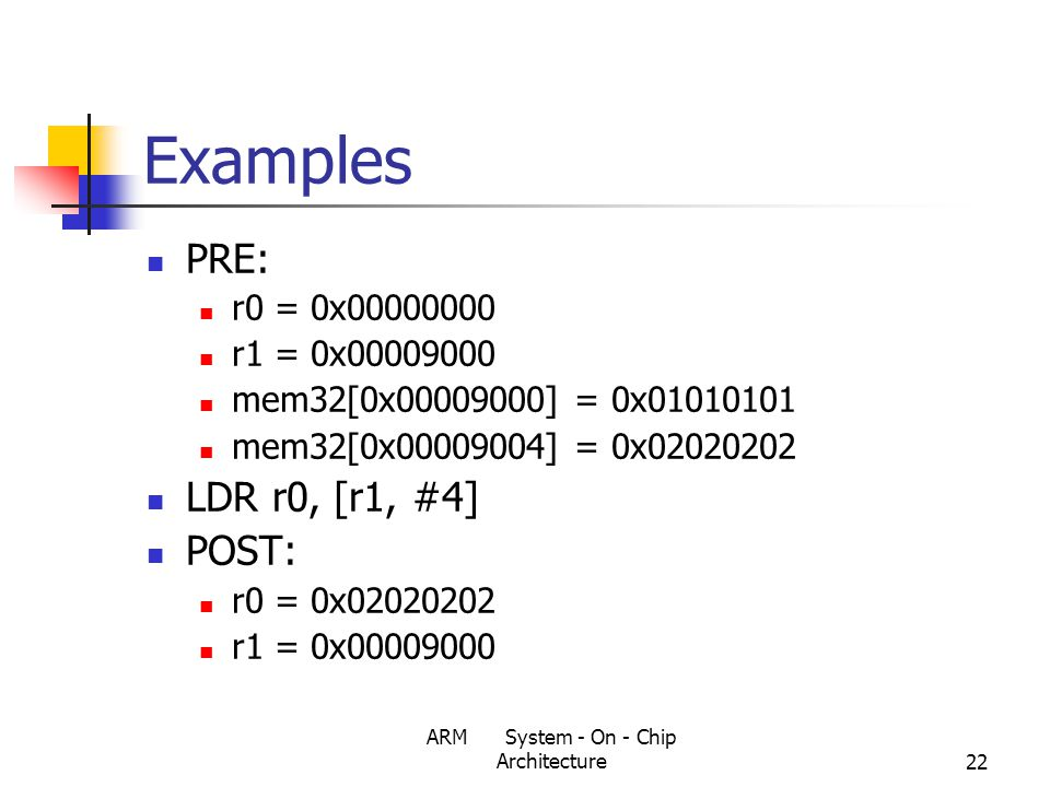 ARM System - On - Chip Architecture22 Examples PRE: r0 = 0x00000000 r1 = 0x00009000 mem32[0x00009000] = 0x01010101 mem32[0x00009004] = 0x02020202 LDR r0, [r1, #4] POST: r0 = 0x02020202 r1 = 0x00009000