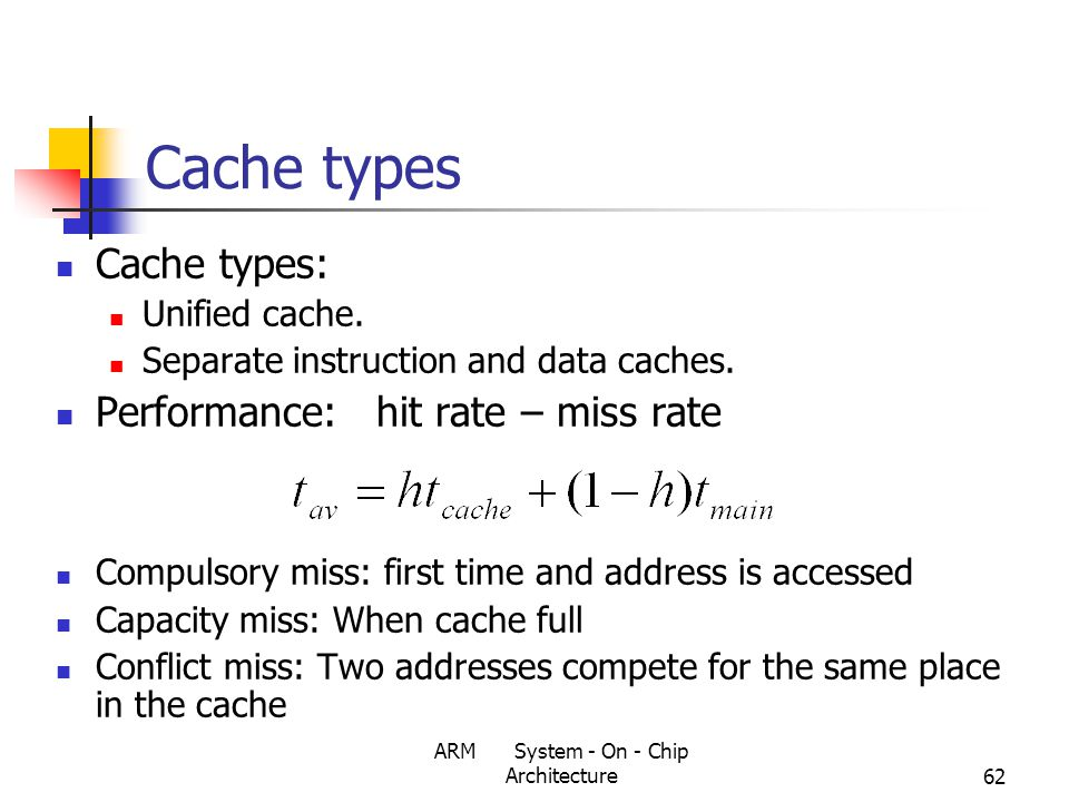 ARM System - On - Chip Architecture62 Cache types Cache types: Unified cache.