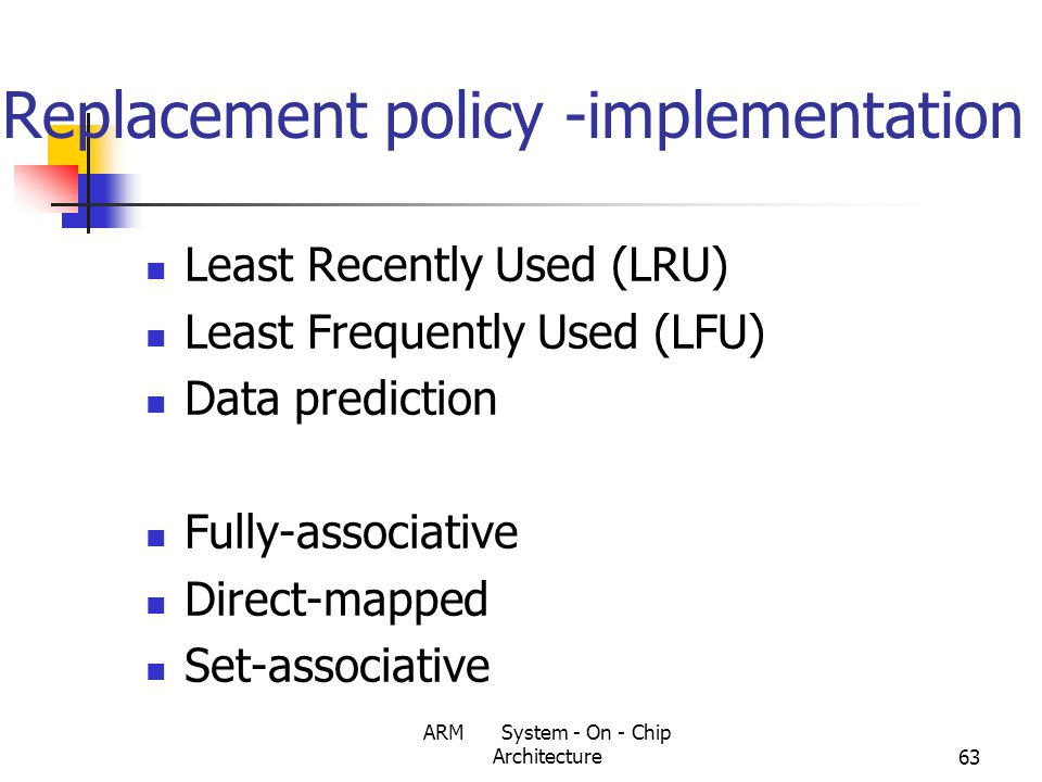 ARM System - On - Chip Architecture63 Replacement policy -implementation Least Recently Used (LRU) Least Frequently Used (LFU) Data prediction Fully-associative Direct-mapped Set-associative