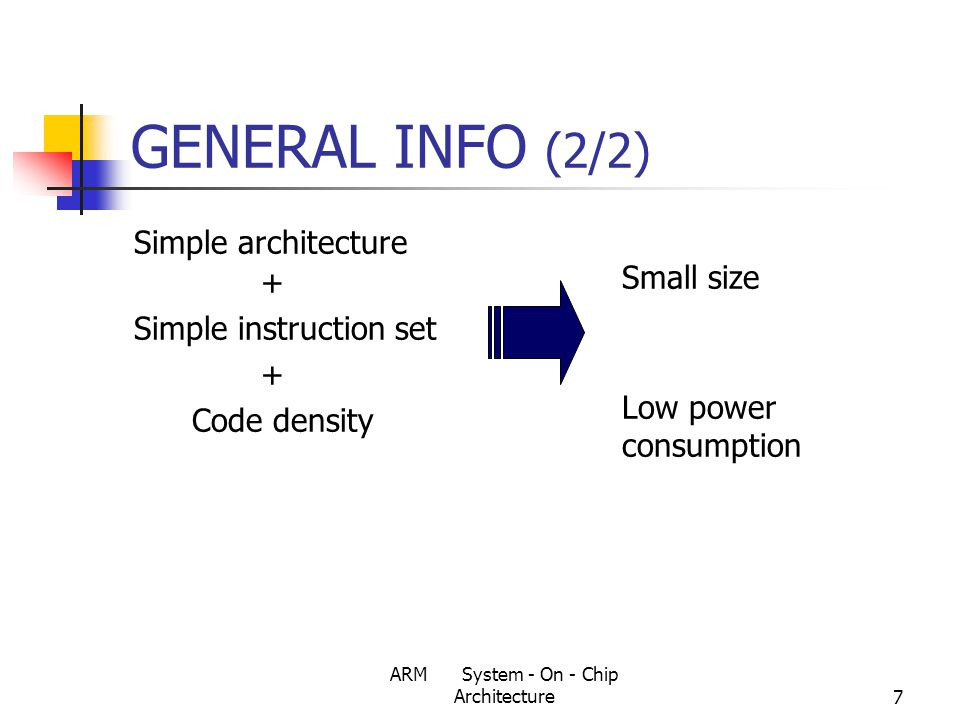 ARM System - On - Chip Architecture78 Protection Unit Simpler alternative to the MMU.