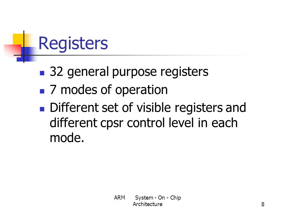 ARM System - On - Chip Architecture8 Registers 32 general purpose registers 7 modes of operation Different set of visible registers and different cpsr control level in each mode.
