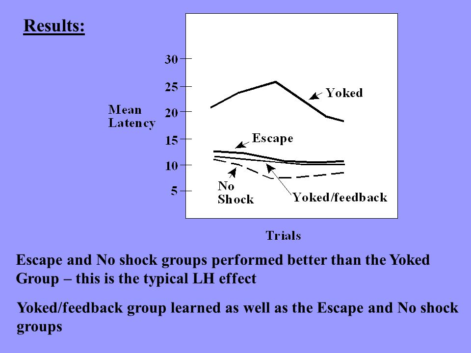 Results: Escape and No shock groups performed better than the Yoked Group – this is the typical LH effect Yoked/feedback group learned as well as the