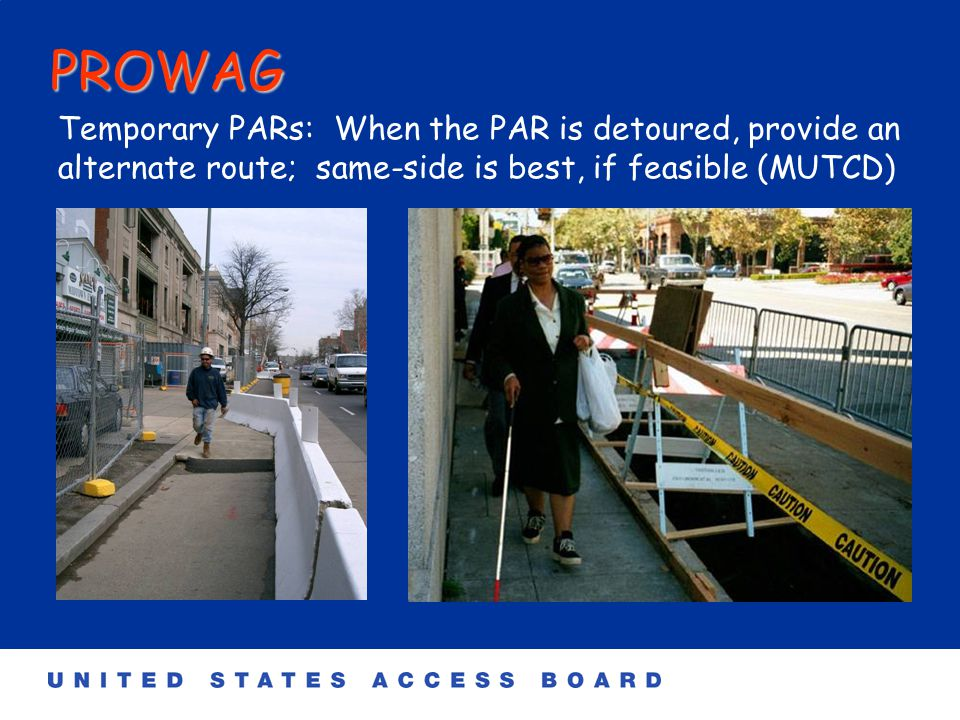 PROWAG Tabled Intersections: Where two directions of travel intersect at corners (or where a turn must be made), the PAR must be 'level' (2% in both directions) or 'tabled'.