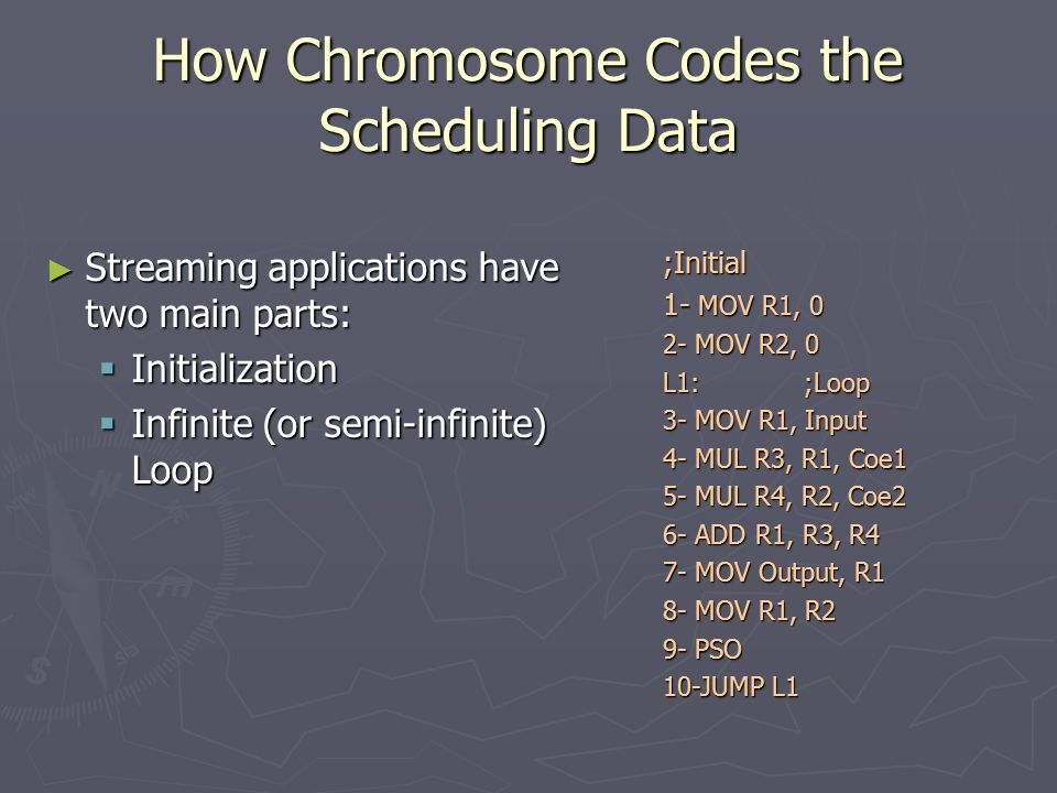 How Chromosome Codes the Scheduling Data ► Streaming applications have two main parts:  Initialization  Infinite (or semi-infinite) Loop ;Initial 1- MOV R1, 0 2- MOV R2, 0 L1:;Loop 3- MOV R1, Input 4- MUL R3, R1, Coe1 5- MUL R4, R2, Coe2 6- ADD R1, R3, R4 7- MOV Output, R1 8- MOV R1, R2 9- PSO 10-JUMP L1