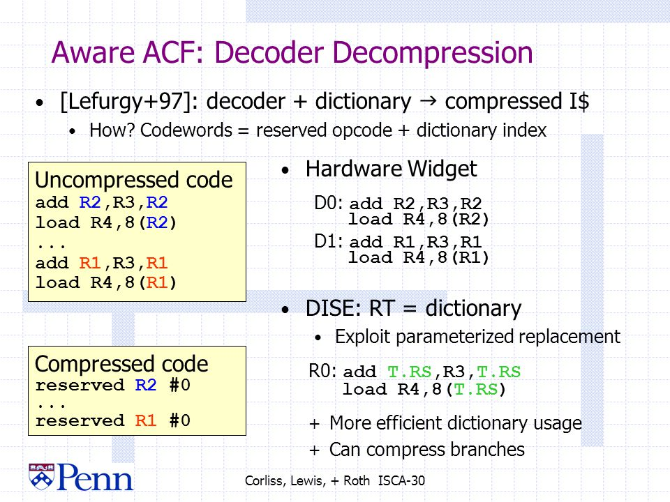 Corliss, Lewis, + Roth ISCA-30 Aware ACF: Decoder Decompression [Lefurgy+97]: decoder + dictionary  compressed I$ How.