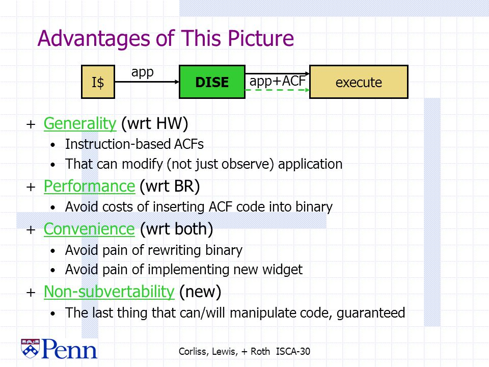 Corliss, Lewis, + Roth ISCA-30 Advantages of This Picture + Generality (wrt HW) Instruction-based ACFs That can modify (not just observe) application + Performance (wrt BR) Avoid costs of inserting ACF code into binary + Convenience (wrt both) Avoid pain of rewriting binary Avoid pain of implementing new widget + Non-subvertability (new) The last thing that can/will manipulate code, guaranteed I$executeDISE app app+ACF