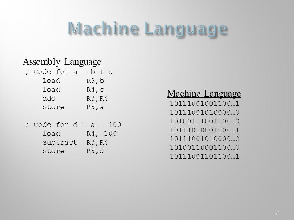 11 ; Code for a = b + c load R3,b load R4,c add R3,R4 store R3,a ; Code for d = a - 100 load R4,=100 subtract R3,R4 store R3,d Assembly Language 10111