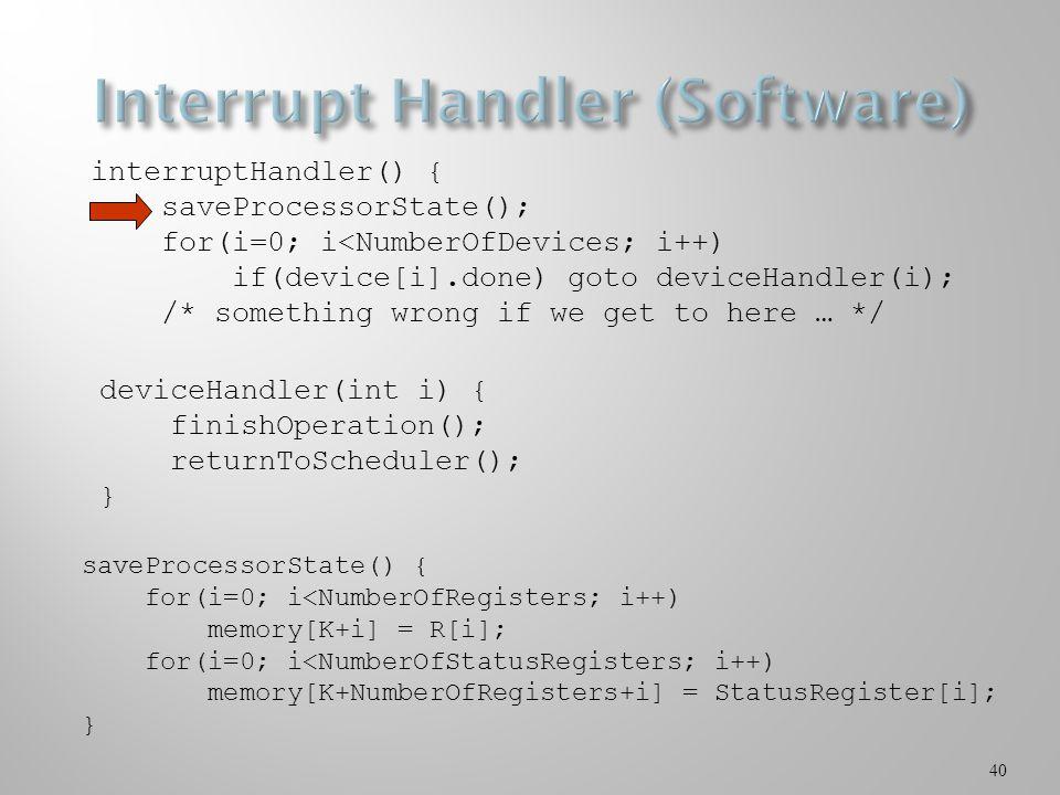 40 interruptHandler() { saveProcessorState(); for(i=0; i<NumberOfDevices; i++) if(device[i].done) goto deviceHandler(i); /* something wrong if we get