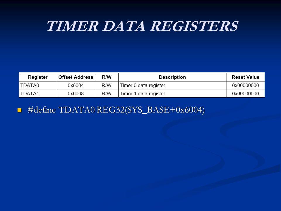 TIMER DATA REGISTERS #define TDATA0 REG32(SYS_BASE+0x6004) #define TDATA0 REG32(SYS_BASE+0x6004)