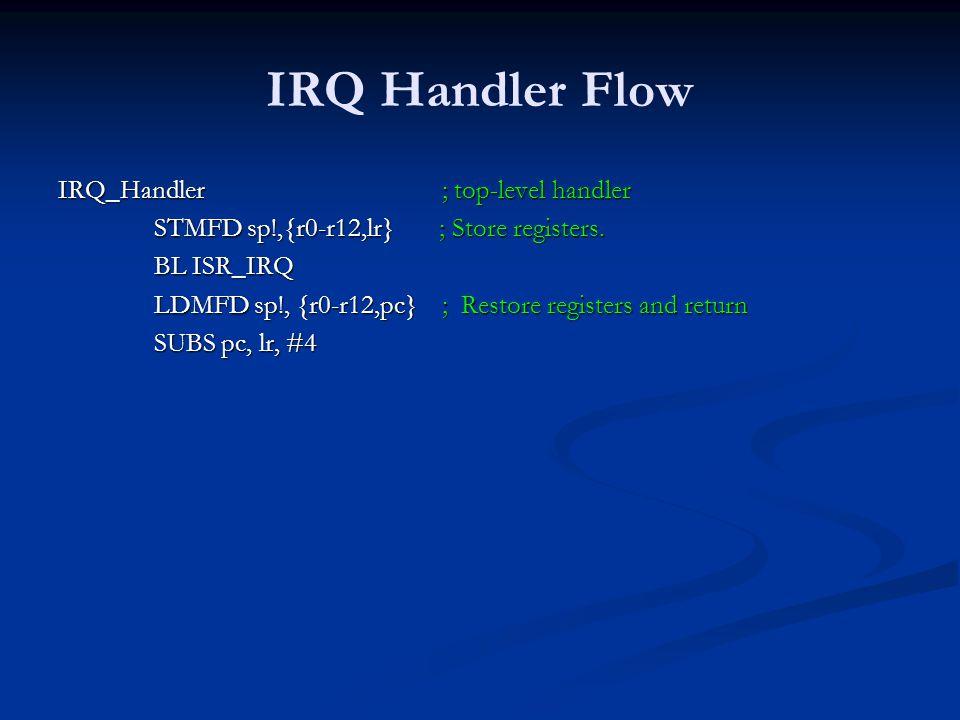 IRQ Handler Flow IRQ_Handler; top-level handler STMFD sp!,{r0-r12,lr} ; Store registers. BL ISR_IRQ LDMFD sp!, {r0-r12,pc} ; Restore registers and ret