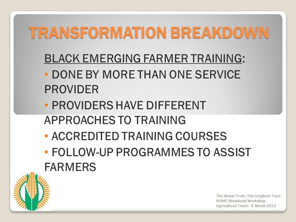 TRANSFORMATION BREAKDOWN BLACK EMERGING FARMER TRAINING: DONE BY MORE THAN ONE SERVICE PROVIDER PROVIDERS HAVE DIFFERENT APPROACHES TO TRAINING ACCRED