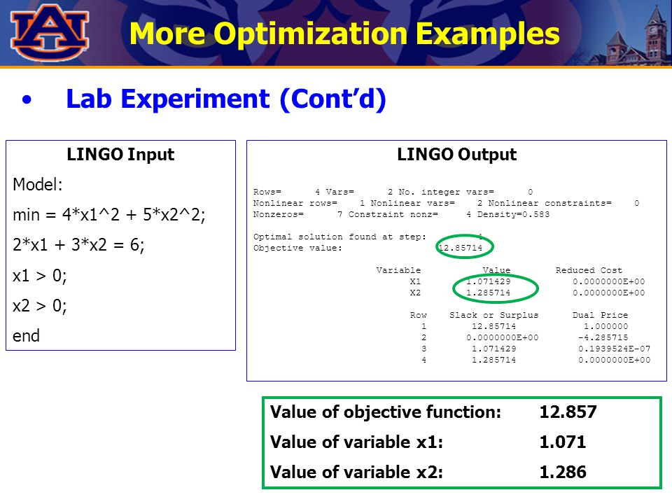 More Optimization Examples Lab Experiment (Cont'd) LINGO Input Model: min = 4*x1^2 + 5*x2^2; 2*x1 + 3*x2 = 6; x1 > 0; x2 > 0; end LINGO Output Rows= 4