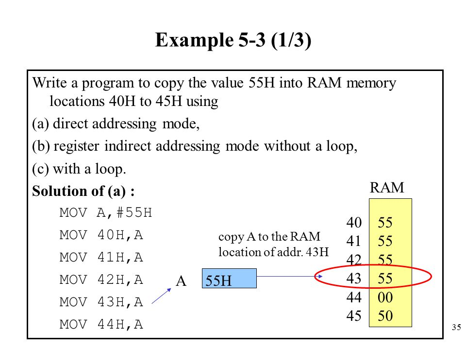 35 Example 5-3 (1/3) Write a program to copy the value 55H into RAM memory locations 40H to 45H using (a) direct addressing mode, (b) register indirec