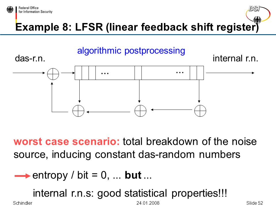 Schindler Slide 52 Example 8: LFSR (linear feedback shift register)...