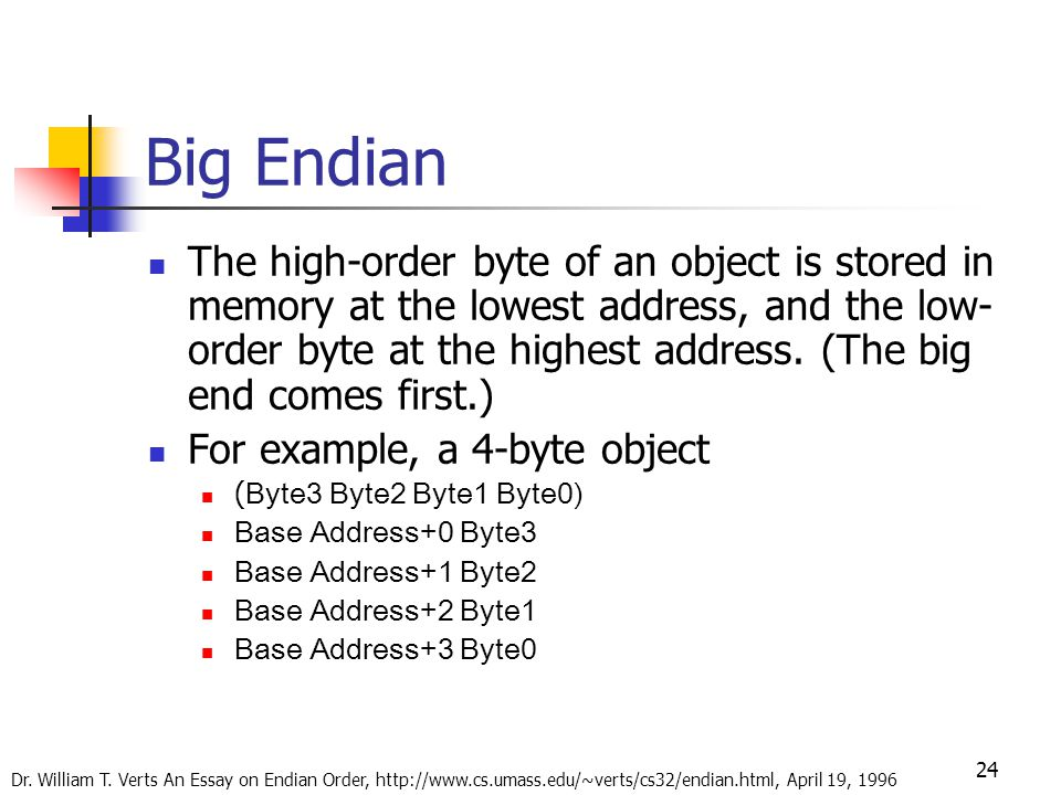 24 Big Endian The high-order byte of an object is stored in memory at the lowest address, and the low- order byte at the highest address.