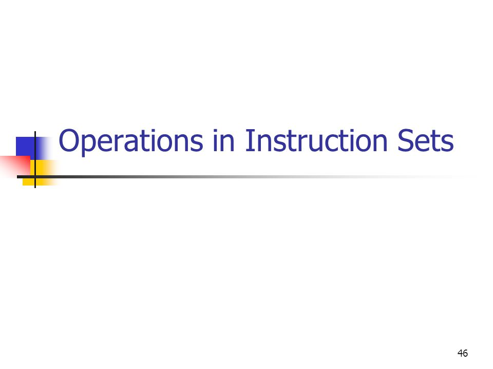 46 Operations in Instruction Sets