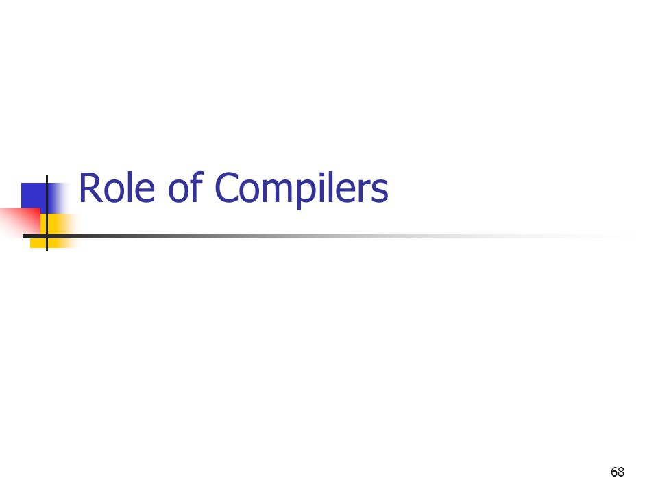 68 Role of Compilers