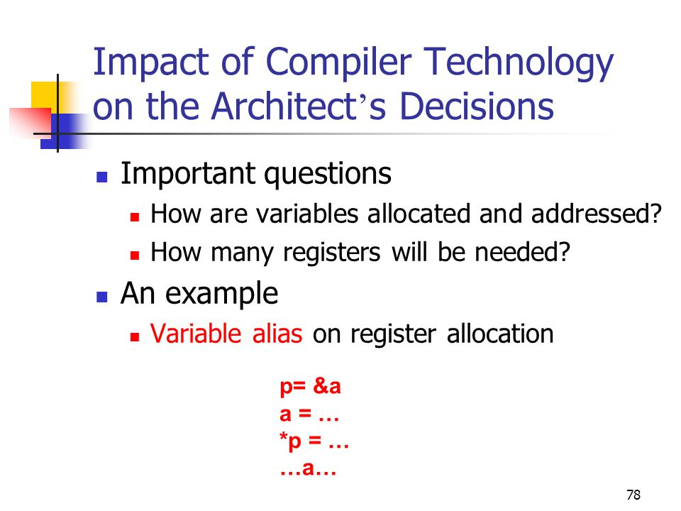 78 Impact of Compiler Technology on the Architect ' s Decisions Important questions How are variables allocated and addressed.
