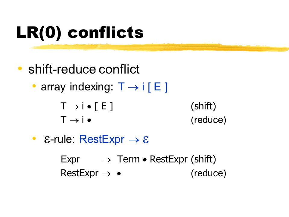 LR(0) conflicts shift-reduce conflict array indexing: T  i [ E ] T  i  [ E ](shift) T  i  (reduce)  -rule: RestExpr   Expr  Term  RestExpr(s