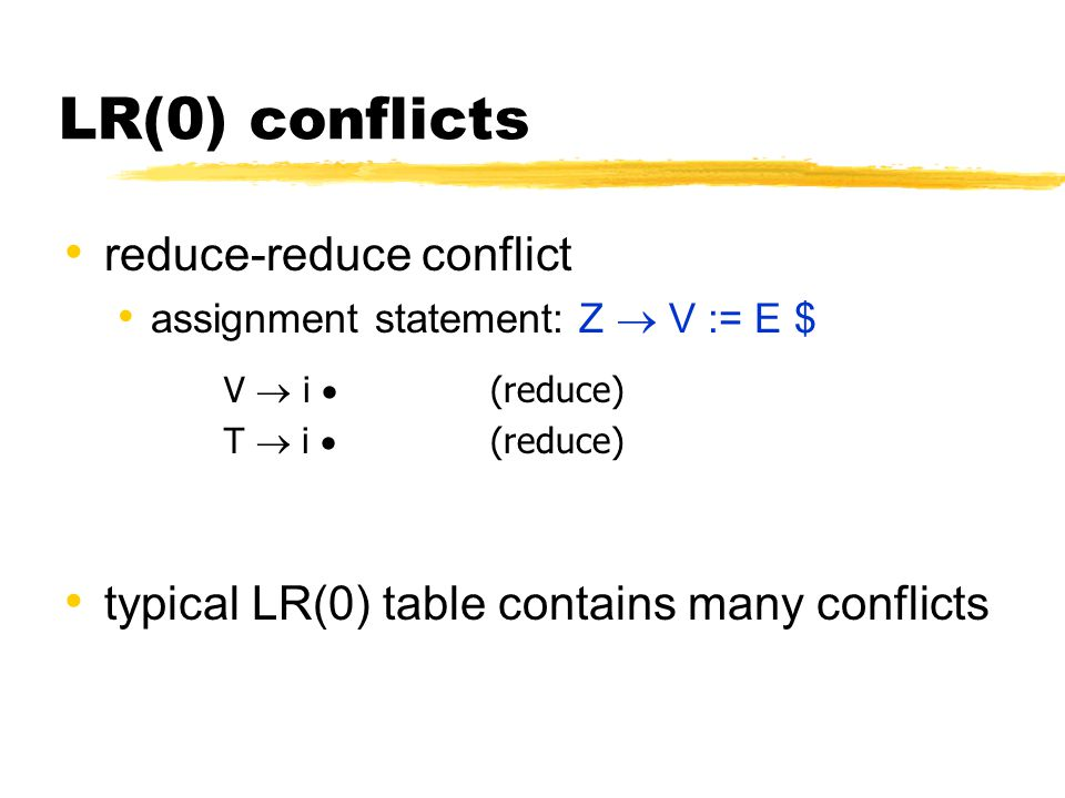 LR(0) conflicts reduce-reduce conflict assignment statement: Z  V := E $ V  i  (reduce) T  i  (reduce) typical LR(0) table contains many conflict