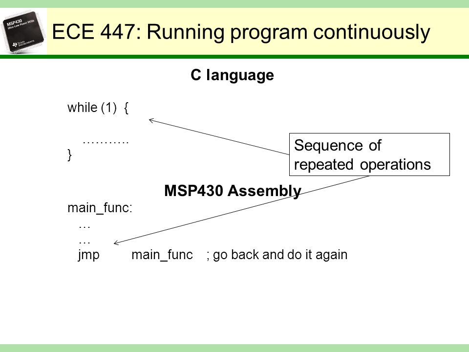 ECE 447: Running program continuously C language while (1) { ………..