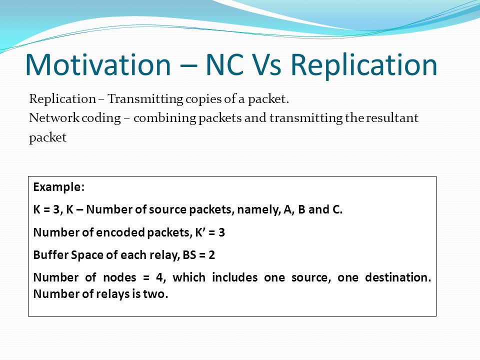 Motivation – NC Vs Replication Replication – Transmitting copies of a packet.