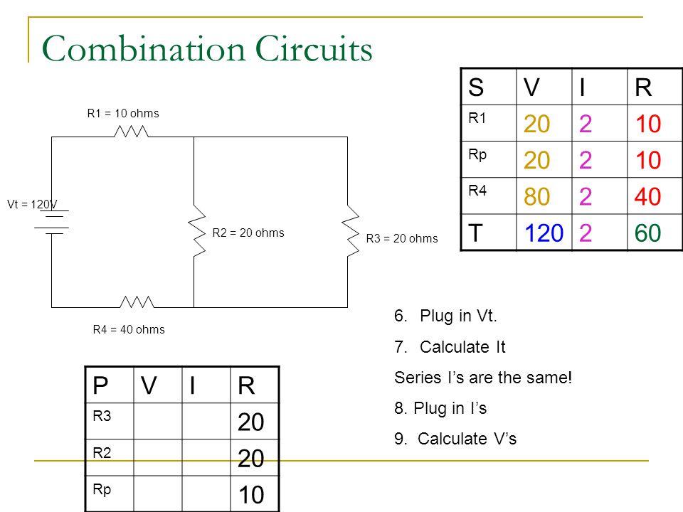 Combination Circuits SVIR R1 20210 Rp 20210 R4 80240 T120260 R1 = 10 ohms R4 = 40 ohms R2 = 20 ohms R3 = 20 ohms Vt = 120V PVIR R3 20 R2 20 Rp 10 6.Pl