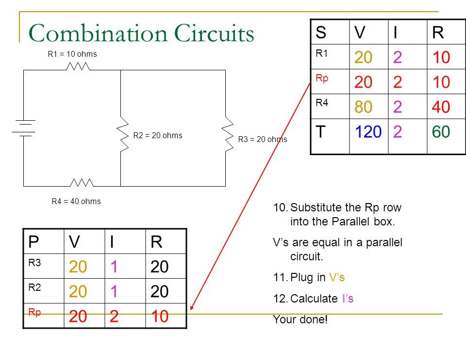 Combination Circuits SVIR R1 20210 Rp 20210 R4 80240 T120260 R1 = 10 ohms R4 = 40 ohms R2 = 20 ohms R3 = 20 ohms PVIR R3 201 R2 201 Rp 20210 10.Substi