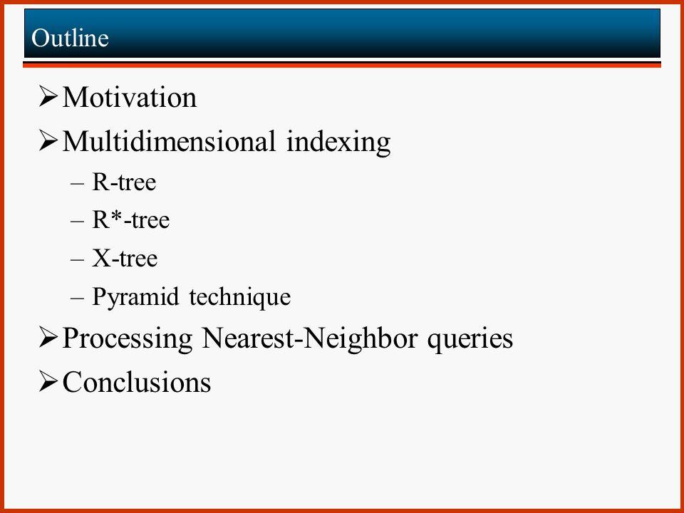 Query Processing  Range query Point_Set PyrTree::range_query(range q) { Point_Set res; for (i=0; i<2d; i++) { if (intersect(p[i], q) { determine_range(p[i], q, h low, h high ); cs = btree_query(i+h low, i+h high ); for (c=cs.first; cs.end; cs.next) if (inside(q, c)) res.add(c); } return res; } Lemma 1 Lemma 2 M=3 0.30.20.11.21.10.41.41.32.42.32.23.43.33.2 1.20.3 2.4 1.2 [0.1, 0.6][0.1, 0.3] i=0 h low =0.2 h high =0.4 (0.1, 0.3) i=1 (0.5, 0.3) (0.3, 0.2) (0.5, 0.1) i=2 i=3 (0.2,0.7)(0.3,0.4) (0.1, 0.5) (0.1,0.3) Q