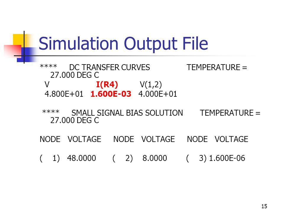 15 Simulation Output File **** DC TRANSFER CURVES TEMPERATURE = 27.000 DEG C V I(R4) V(1,2) 4.800E+01 1.600E-03 4.000E+01 **** SMALL SIGNAL BIAS SOLUTION TEMPERATURE = 27.000 DEG C NODE VOLTAGE NODE VOLTAGE NODE VOLTAGE ( 1) 48.0000 ( 2) 8.0000 ( 3) 1.600E-06