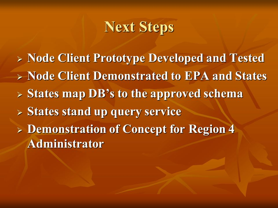 Project Status  Schema Finalized  Includes 18 elements pertaining to CAFO from the ICIS schema  Incorporates shared schema components from the Core Reference Model  Draft Query Service Defined  Parameters:  Latitude and Longitude  Facility Name  Hydrologic Unit Code  Animal Type  State  State Facility Identifier