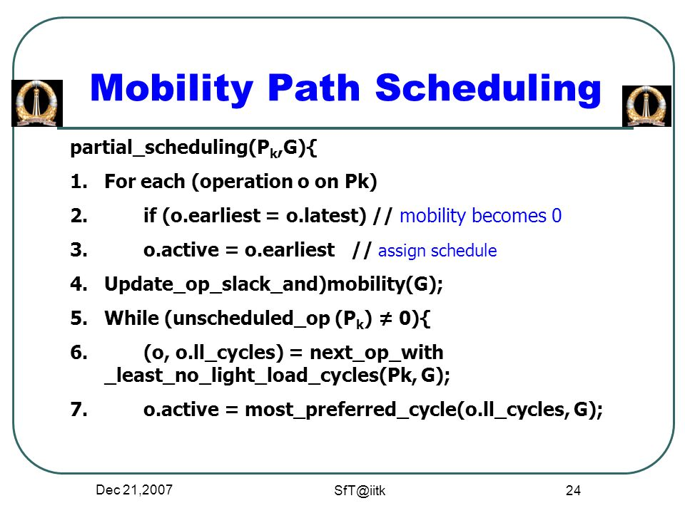 Dec 21, Mobility Path Scheduling partial_scheduling(P k,G){ 1.For each (operation o on Pk) 2.