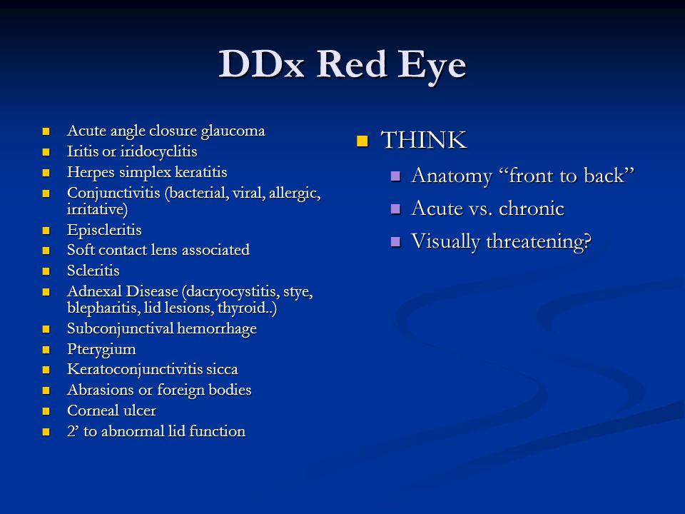 DDx Red Eye Acute angle closure glaucoma Acute angle closure glaucoma Iritis or iridocyclitis Iritis or iridocyclitis Herpes simplex keratitis Herpes simplex keratitis Conjunctivitis (bacterial, viral, allergic, irritative) Conjunctivitis (bacterial, viral, allergic, irritative) Episcleritis Episcleritis Soft contact lens associated Soft contact lens associated Scleritis Scleritis Adnexal Disease (dacryocystitis, stye, blepharitis, lid lesions, thyroid..) Adnexal Disease (dacryocystitis, stye, blepharitis, lid lesions, thyroid..) Subconjunctival hemorrhage Subconjunctival hemorrhage Pterygium Pterygium Keratoconjunctivitis sicca Keratoconjunctivitis sicca Abrasions or foreign bodies Abrasions or foreign bodies Corneal ulcer Corneal ulcer 2' to abnormal lid function 2' to abnormal lid function THINK Anatomy front to back Acute vs.