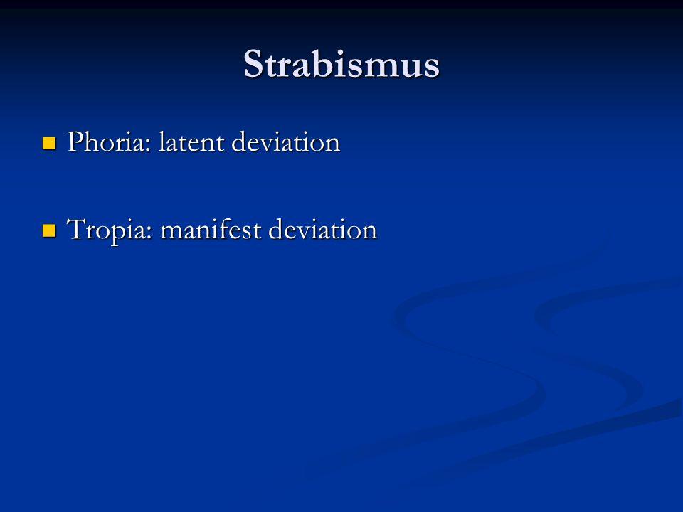 Strabismus Phoria: latent deviation Phoria: latent deviation Tropia: manifest deviation Tropia: manifest deviation