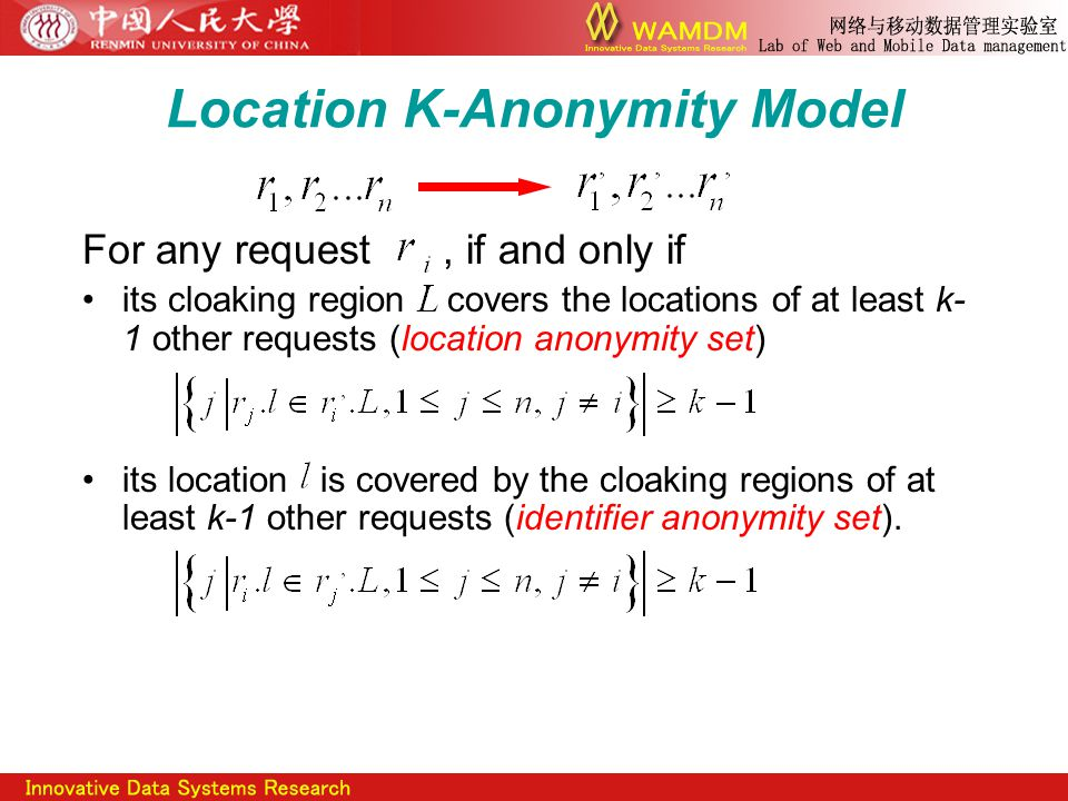 Location K-Anonymity Model For any request, if and only if its cloaking region covers the locations of at least k- 1 other requests (location anonymity set) its location is covered by the cloaking regions of at least k-1 other requests (identifier anonymity set).