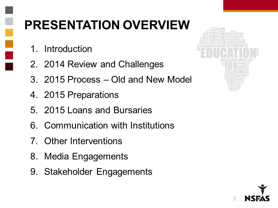 PRESENTATION OVERVIEW 1.Introduction 2.2014 Review and Challenges 3.2015 Process – Old and New Model 4.2015 Preparations 5.2015 Loans and Bursaries 6.
