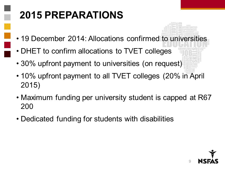 2015 PREPARATIONS 9 19 December 2014: Allocations confirmed to universities DHET to confirm allocations to TVET colleges 30% upfront payment to univer