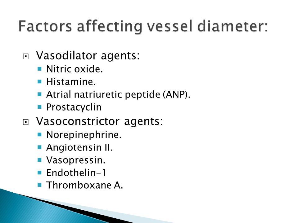  Vasodilator agents:  Nitric oxide.  Histamine.  Atrial natriuretic peptide (ANP).  Prostacyclin  Vasoconstrictor agents:  Norepinephrine.  An