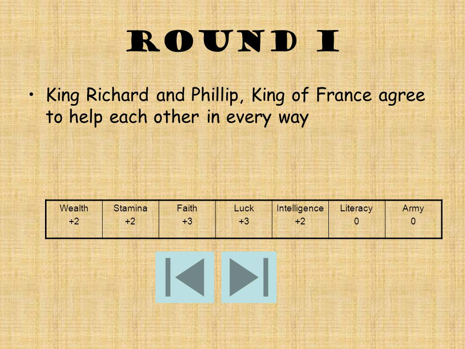 round I King Richard and Phillip, King of France agree to help each other in every way Wealth +2 Stamina +2 Faith +3 Luck +3 Intelligence +2 Literacy 0 Army 0