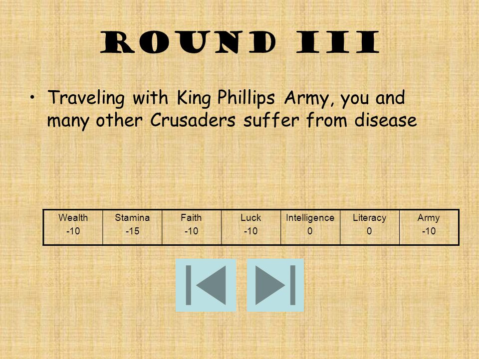 Round III Traveling with King Phillips Army, you and many other Crusaders suffer from disease Wealth -10 Stamina -15 Faith -10 Luck -10 Intelligence 0 Literacy 0 Army -10