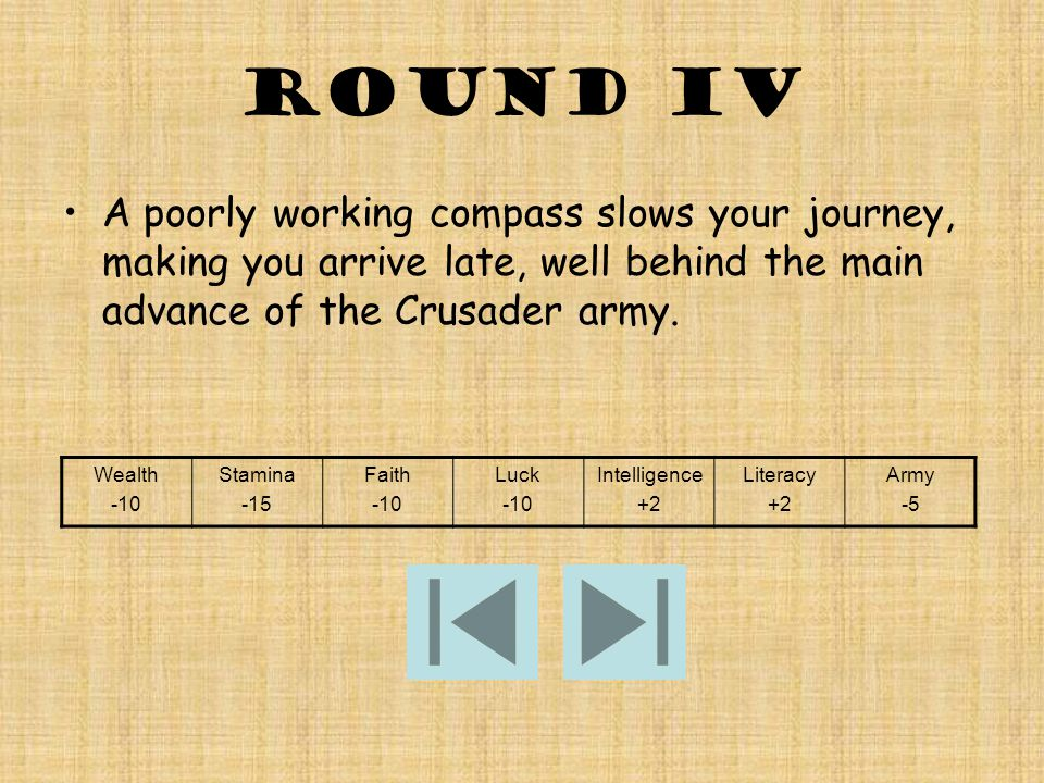ROUND IV A poorly working compass slows your journey, making you arrive late, well behind the main advance of the Crusader army.