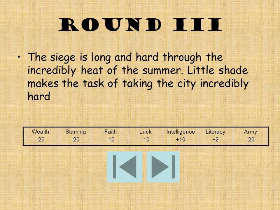 Round iii The siege is long and hard through the incredibly heat of the summer.
